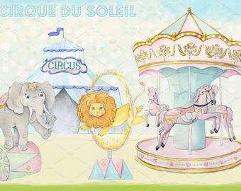 Watercolor Circus, circus Clipart Images, circus designs, circus party, circus theme, carousel, ferriswheel,