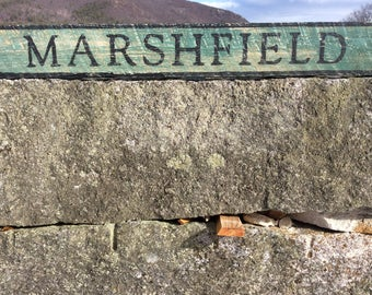 Marshfield wood sign, rustic, vintage appearance