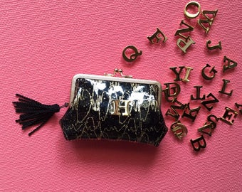 Black×gold lace coin purse