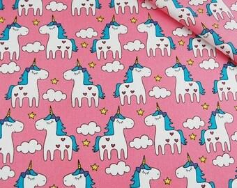Unicorn Fabric, Pink Unicorn Fabric, Girls Pony Material ,Unicorn Pony Fabric, Fabric Sewing material, Quilting Fabric