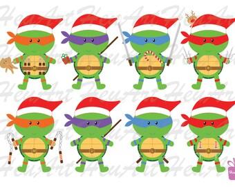 NEW Cute Ninja Turtle Christmas Clipart - Cute Ninja Turtle Invitation, Christmas Ninja Turtle, Cute Ninja Turtle Printables, Cute Stickers