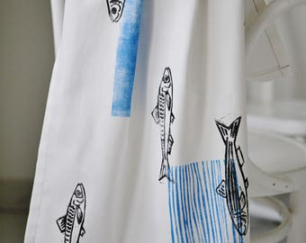 Handprinted tea towel / kitchen towel