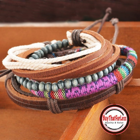 Leather Stackable Boho Style Bracelets, Handmade +Discounts & FREE Shipping*