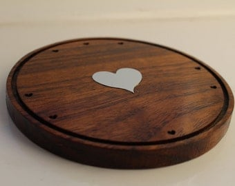 Oak/Walnut Heart Coasters