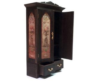Dollhouse Miniature Wardrobe, 1/12th Scale Miniature Cupboard