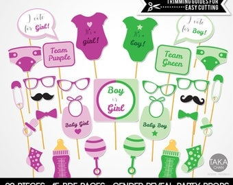 Gender Reveal Photo Booth Props, Purple and Green Props, Party Props, Baby Shower Photo Booth Props, Gender Reveal Party Supply