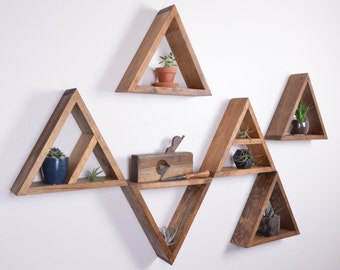Triangle Shelves - Set of 6 - Nursery Decor -  Geometric Shelves - Floating Shelves - Floating Shelf - Honeycomb Shelf - Hexagon Shelves