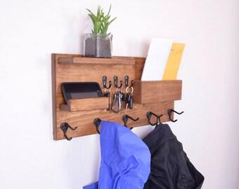 Wall organizer, coat rack, wall coat rack, mail organizer, coat rack shelf, mail holder, wood wall organizer, key hooks, entryway organizer