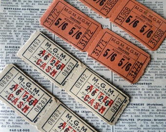 Vintage theatre tickets - beige and coral - 56 tickets
