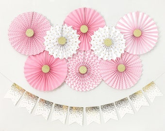 Baby Girl Shower Decorations, Bridal Shower Decorations, Birthday Girl Party Decorations, Pink and Gold Paper Fans