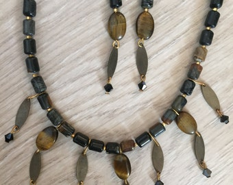 Ethnic Jasper Tiger Eye Brass Drop Necklace & Earrings