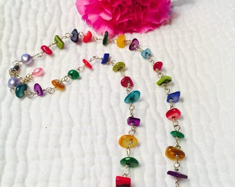 Bright Colors Shell Link Necklace