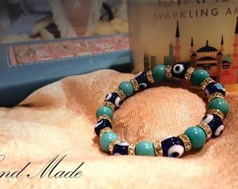 Mother's  Day gift Turkuaz Stone Evil Eye Bracelet Hand Made