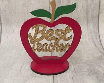 Best teacher gift, Teacher thank you, end of term gift, best teacher apple, gift for teacher, teachers desk, teacher appreciation plaque