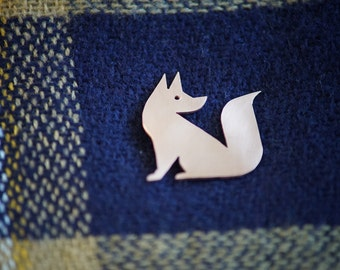Copper fox brooch