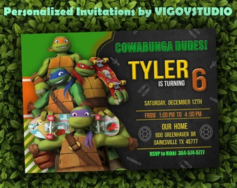 Teenage Mutant Ninja Turtles Invitation - TMNT Invitation - Printable birthday invitation - Personalized invitation-Ninja Turtles Invitation