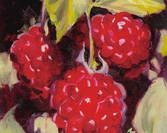 "Original Oil Painting ""Raspberries"" 8x8"""