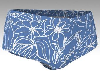 Purple Flower Mini Shorts, Women's Shorts, Yoga Shorts, Swim Shorts, Swim Bottoms, Athletic Shorts, Pair with Purple Flower Crop Top