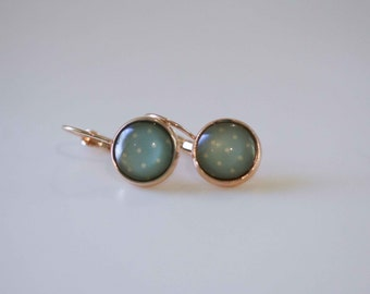 Glass Cabochon Earrings, Duck egg blue with cream spot in rose gold plated French lever back earrings