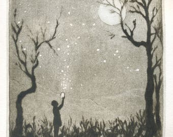 "original engraving ""fireflies"""