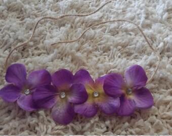 Purple Hydrangea Tieback Headband