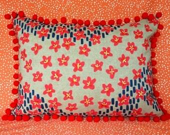 Red Flower Pom Pillow
