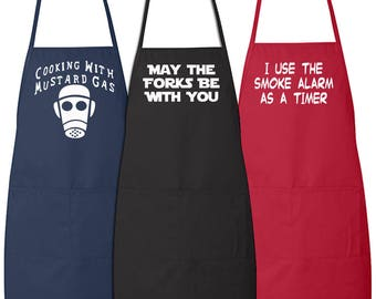 Custom Personalized Long Round Bottom Cooking Apron With One Color Printing On Front