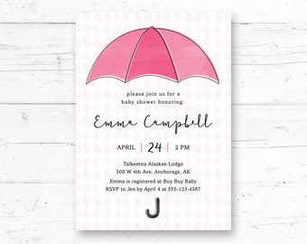 Umbrella Shower - Girl Baby Shower Printable Invitation, Rain Shower Custom Printable Invite