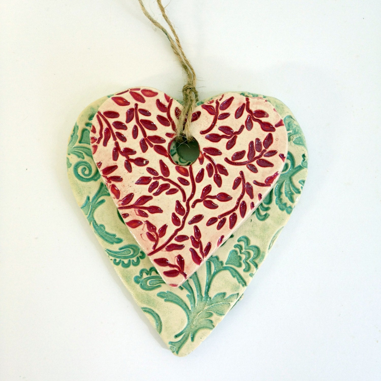 Decorative Wall Hanging Hearts : Ceramics handmade hearts hanging wall d?cor