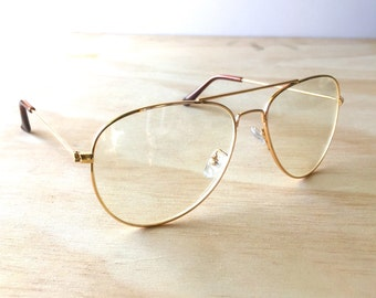 vintage classic gold transparent aviator frame clear lens pilot style glasses