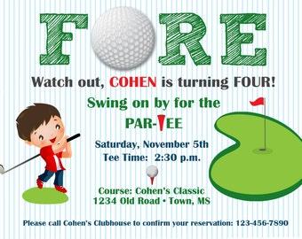 Boy's Golf Birthday Party Invitation