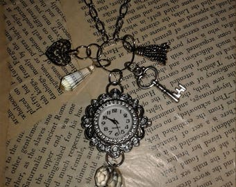 Vintage look long clock charm necklace