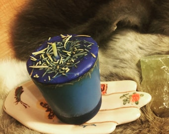 Psychic Protection Herb Infused Spell Votive Candle - Small Blue Candle - Artisan Made Wicca Ritual Altar Spell Votive
