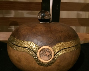 Gourd Jewelry box with glass finial and cork adornment,Jewelry storage, Keepsake box, Gourd art
