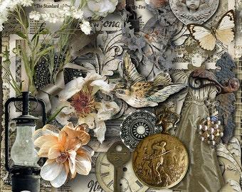 Digital Scrapbooking Kit, Vintage, Shabby Elegance, Digital Scrapbook, Heritage, Ancestry, Vintage-Style, Vintage Scrapbook Kit, Immemorial