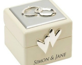 Personalised Amore Wedding Ring Box with Icons & Crystals