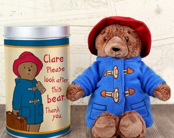 Personalised Paddington Bear Teddy in a Tin