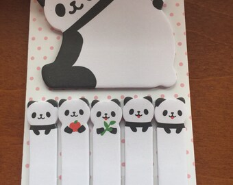 Kawaii cute Panda sticky tabs with sticky memo pad Stationary Storage Organizer Bag School Office Supply Planner Stationery