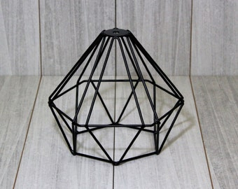 Metal Lamp shade, metal cage, loft lamp shade, edison lamp shade, Steampunk shade, Diamond Cage Lampshade