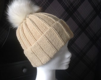 Wool/Arcylic mix Beanie Hat with Faux Fur Pom Pom - Hand Made and Ready to ship