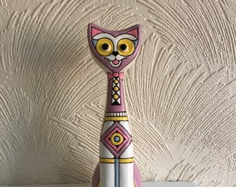 Handmade ceramic tall, long-necked cat; Pottery cat; Modern ceramic cat; Purple and white cat