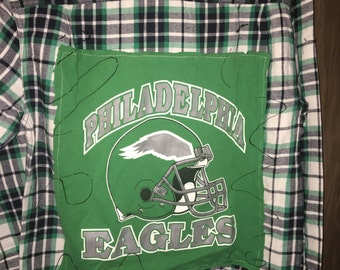 Distressed Up-Cycled Philadelphia Eagles Flannel