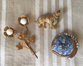Lot of 3 Vintage Pins Dog Floral Blue Aurora Borealis
