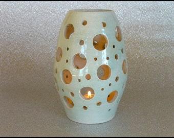 Ceramic tealight, candle holder, nightlight, pottery tea light, tea light holder, projector tealight, eau de nil tealight, Teacher Thank You