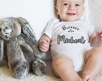 Personalised baby grow baby bodysuit baby clothes 'blessed with' baby gift set personalised Beanie Mittens