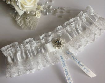 Personalised Wedding Garter, light Ivory with diamanté cluster, available in S/M & Plus/Large sizes