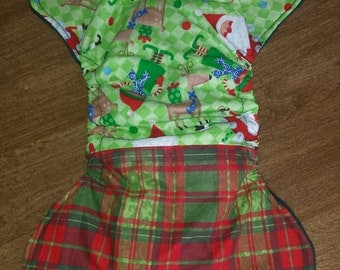 Christmas Fitted Cloth Diaper, size small (9-15lbs)