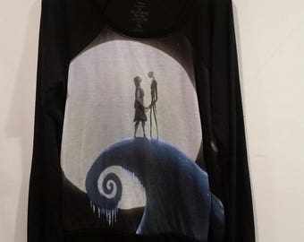 Nightmare Before Christmas Jack and Sally sheer sweater