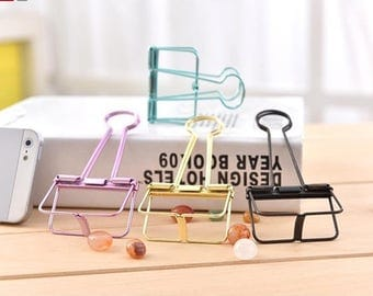 Colorful Binder Clips, Linge Clips,Paper Clips,  Planner Paper Clips, Binder,  Purple, Silver, Orange, Green,Large,Medium,Small