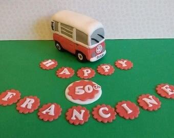 VW camper van with name letters, edible, handmade